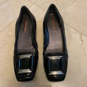 Prada black patent leather flat